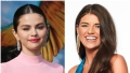 Selena Gomez Smiles in Pink Turtleneck with Hair Pulled Back and Red Lipstick in Split Image With Madison Prewett Bachelor Headshot