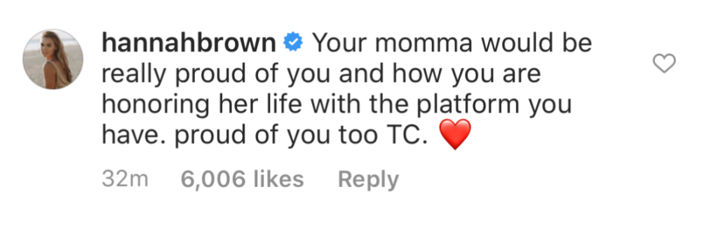 Bachelorette Hannah Brown Supports Tyler Cameron After Mom Andrea's Death