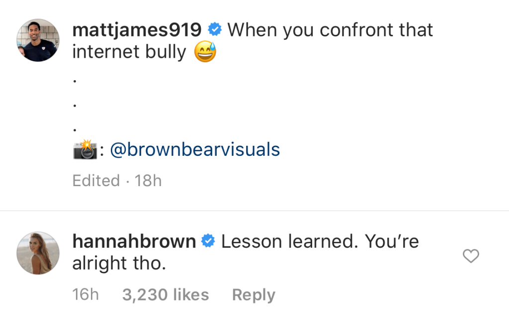 Hannah Brown Reconciles With Tyler Cameron's BFF Matt James Instagram Comments