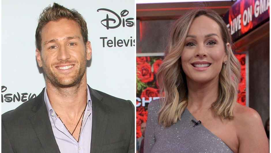 Bachelor Juan Pablo Galavis Smiles in a Grey Suit and Purple Shirt Split Image With Clare Crawley in One Sleeve Silver Dress on Good Morning America