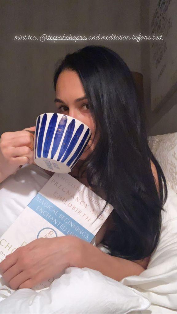 Nikki Bella Drinking Tea