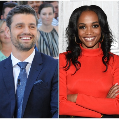 Bachelorette contestant Peter Krau Laugh in Blue Suit and Blue Tie in Side By Side Image With Ex Rachel Lindsay in Red Turtleneck Sweater