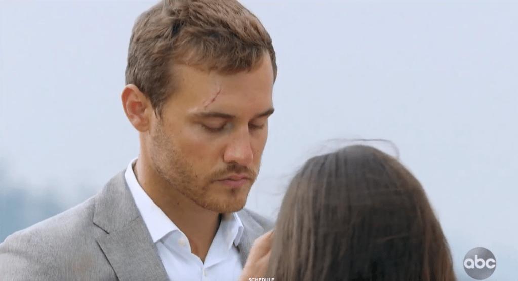 Bachelor Peter Weber Looks Sad in Tan Suit