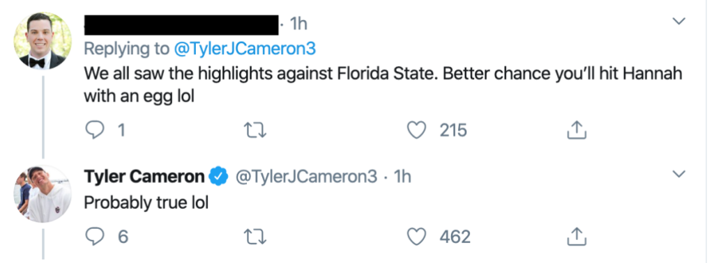 Tyler Cameron Responds to Fan Who Roasts His College Football Career