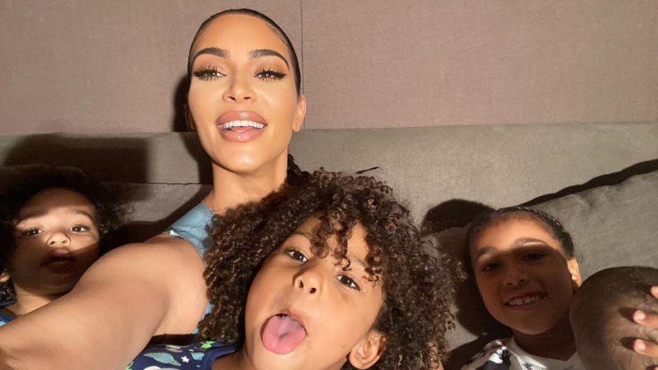 Saint West Stick Out His Tongue With Mom Kim Kardashian