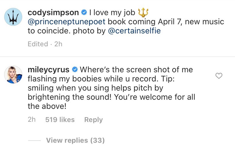 miley cyrus instagram comment to cody simpson