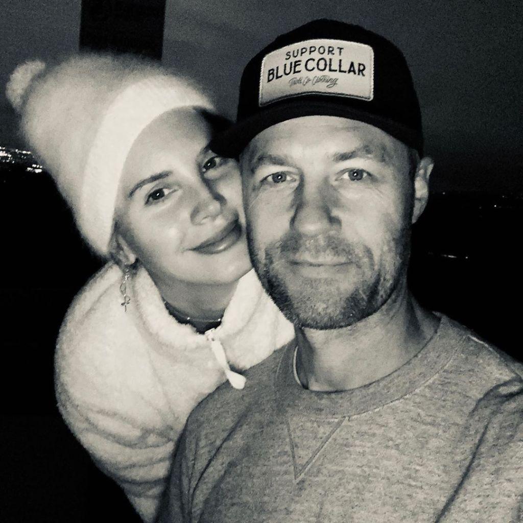 Sean Larkin Wears Hat and Smiles With Ex Girlfriend Lana Del Rey in White Fuzzy Beanie