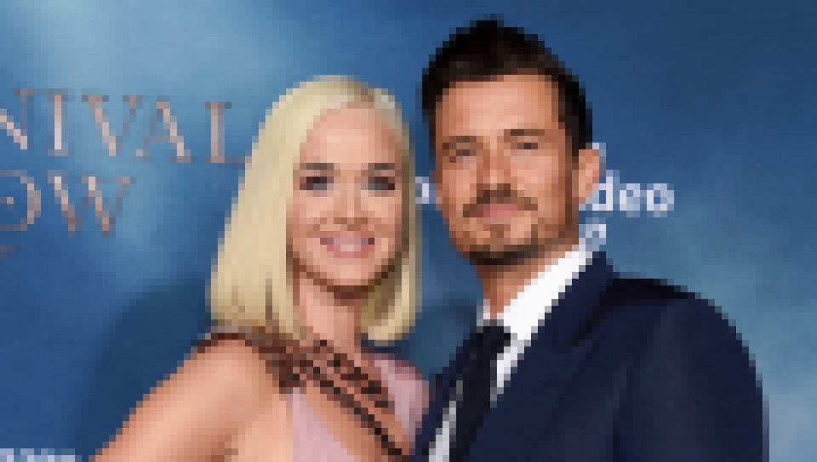 Katie Perry Wears Pink Gown With Short Platinum Blonde Bob With Fiance Orlando Bloom in Blue Suit