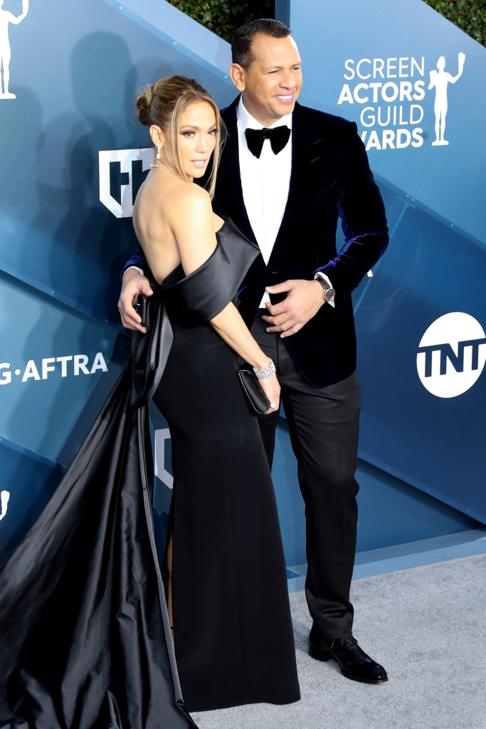 Jennifer Lopez wears Black Off the Shoulder Gown With Alex Rodriguez in Black Tux