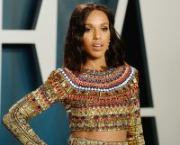 Kerry Washington Wears Colorful Metallic Longsleeve Two Piece Gown at Vanity Fair Oscars After Party