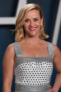 Reese Witherspoon Smiles in Silver Polka Dot Dress at Vanity Fair Oscars Afterparty