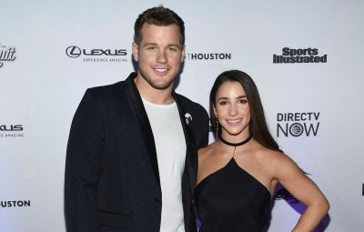 Colton Underwood Wears Black Suit and Tshirt on Red Carpet With Aly Raisman