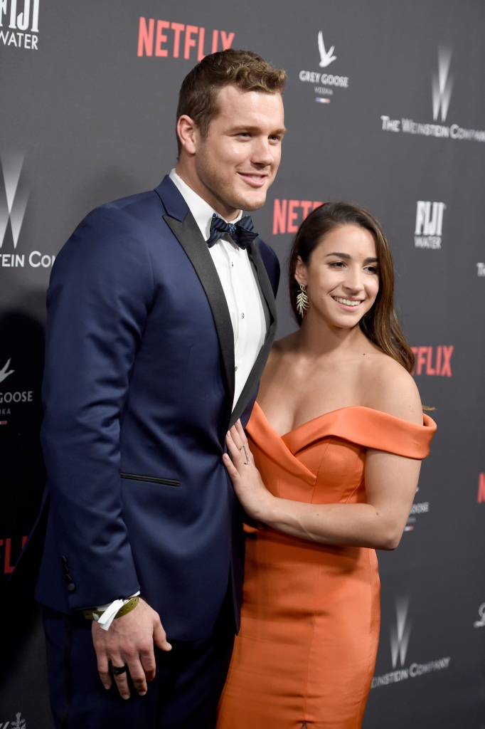 Colton Underwood Wears Blue Tux With Ex Girlfriend Aly Raisman in Orange Off the Shoulder Dress at Golden Globes Afterpary 2017