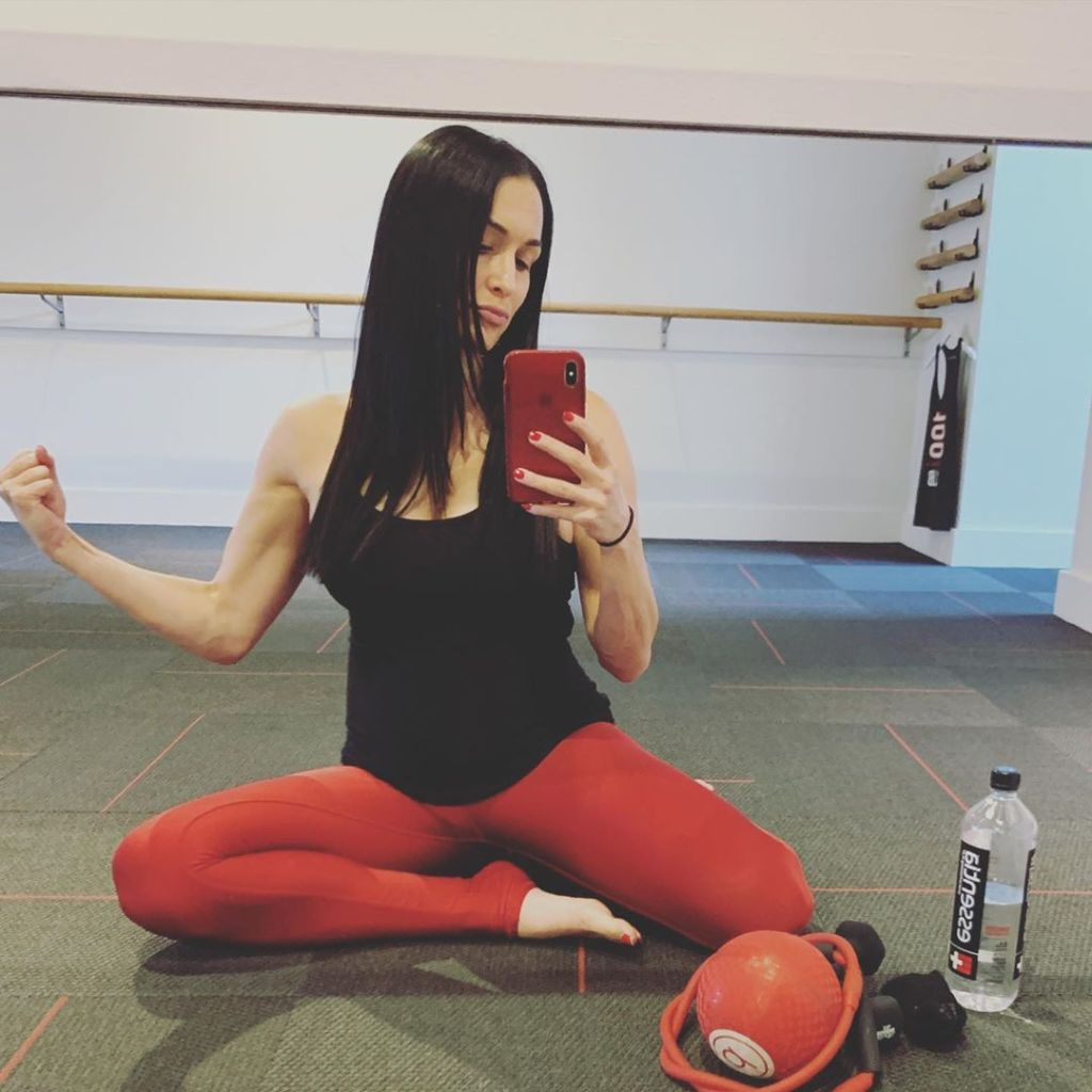 Nikki Bella Takes Mirror Selfie in Red Pants and Black Tank Top at Pure Barre Class