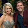 Bachelor in paradise Star Jenna Cooper Wears Silver Sparkly Dress and Red Lipstick Smiling With Ex Fiance Jordan Kimball in Red Blazer