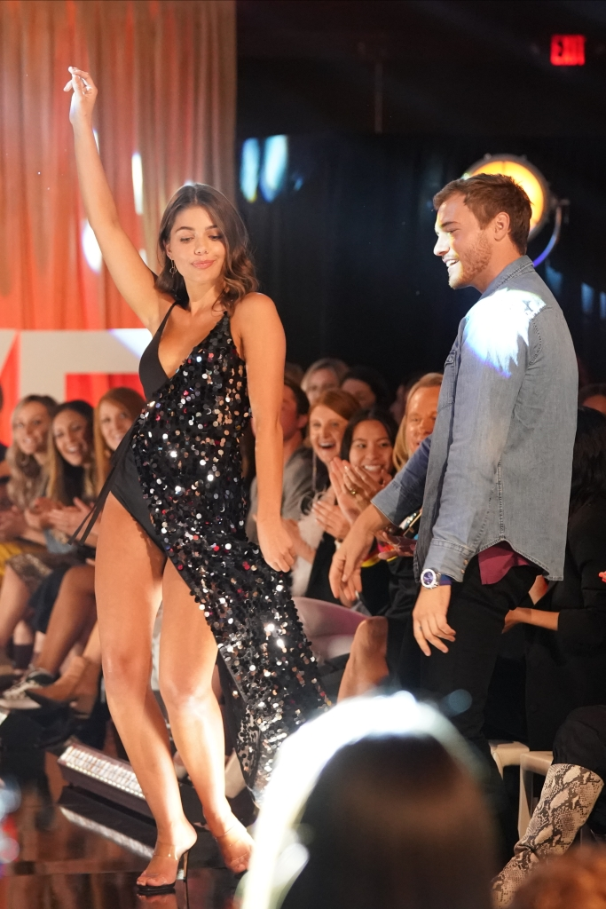 Bachelor COntestant Hannah Ann Snaps in Sparkly Dress on Runway With Peter Weber