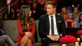Bachelor Hannah Ann Sluss Sits in Red Bodycon Dress and Looks at Ex Peter Weber in Black Suit