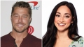 Bachelor Chris Soules Smiles in Maroon Shirt in Split Image With Peter Weber ex Victoria Fuller Smiling in Flowered Shirt