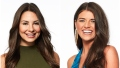 Bachelor Contestant Kelley Flangan Headshot in green Turtleneck With madison Prewett Smiling in Blue Silk Top and Dangling Gold Earrings