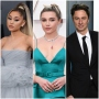 Ariana Grande Wears High Blonde Ponytail in Grey Ballgwon Florence Pugh Wears Tight Bun and Turquoise Green Dress Zach Braff Smiles in Black Suit