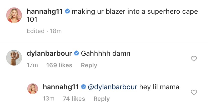 Dylan Barbour Flirts With Hannah Godwin Over Booty Pic