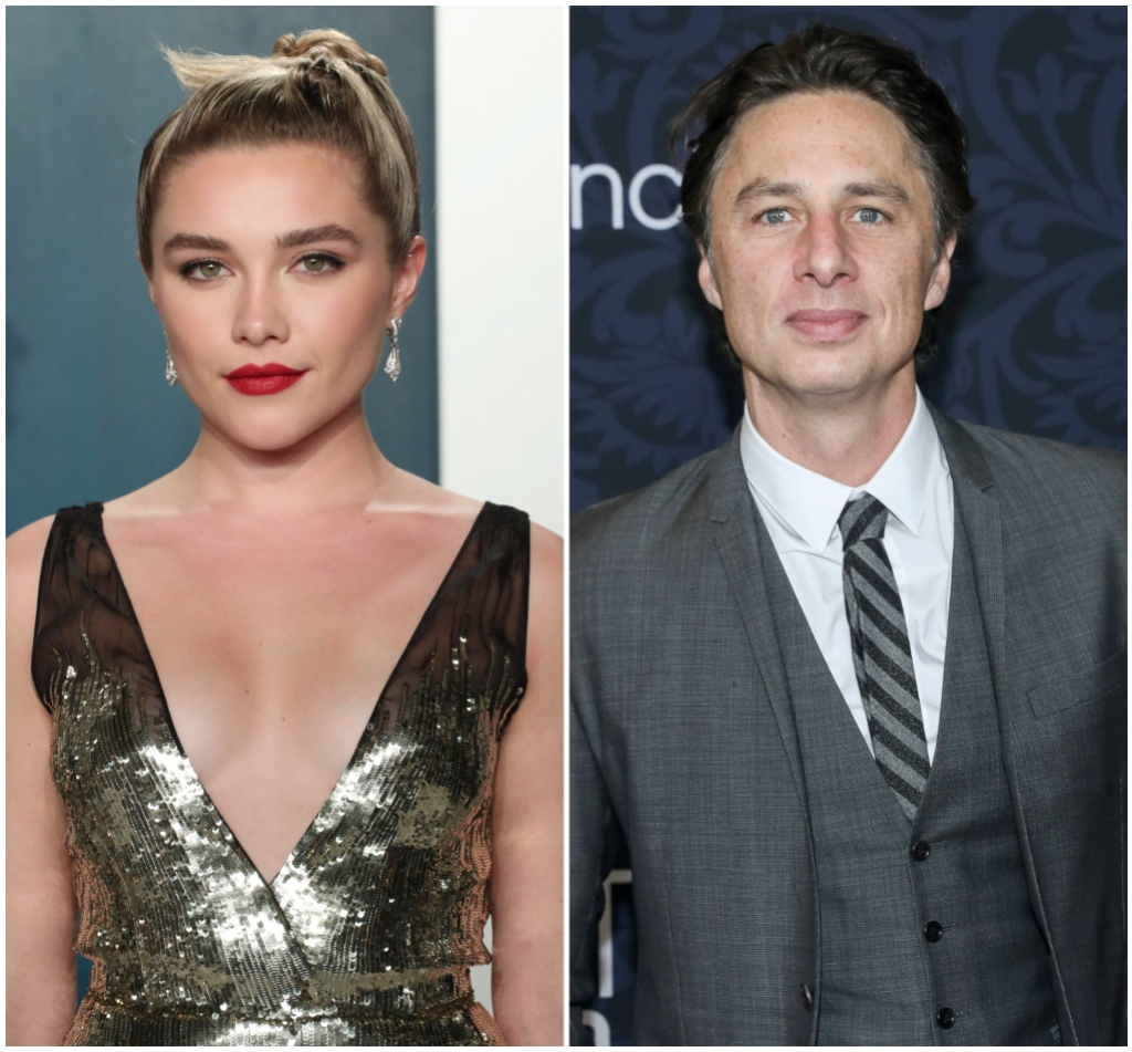 Florence Pugh Wears Red Lipstick and Sparkly Dress in Split Image of Zach Braff in Grey Three Piece Suit