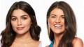 Bachelor Contestants Hannah Ann Sluss Headshot in Purple Top Split Image With Madison Prewett in Blue Silk Top and Gold Earrings