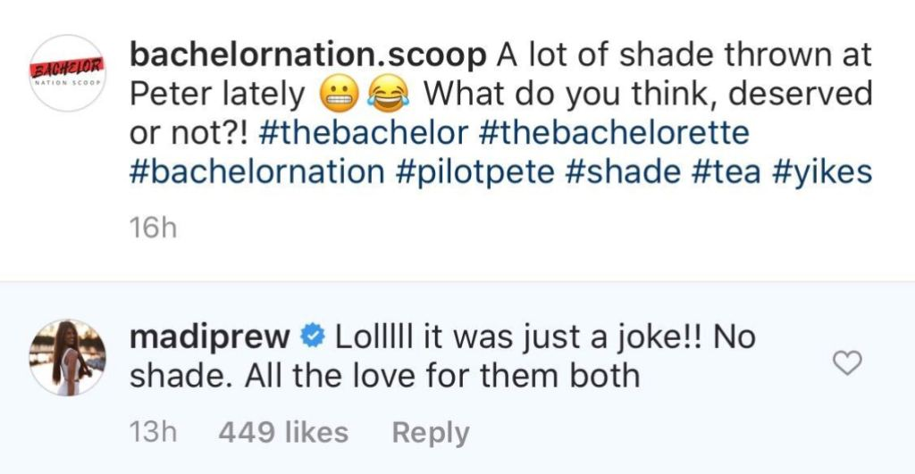 Bachelor Contestant Madison Prewett responds to shady comment about kelley flanagan and peter weber