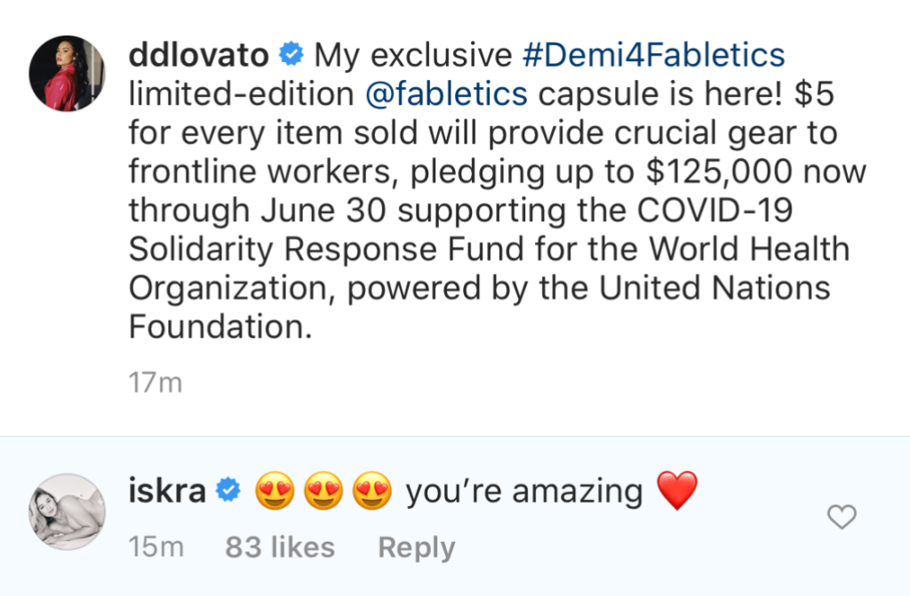 Iskra Lawrence Gushes Over Demi Lovato Coronavirus Donation