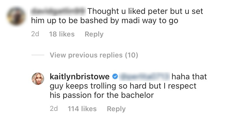 Kaitlyn Bristowe Reacts to Troll Who Says She Set Peter Weber Up to Be 'Bashed' By Madison Prewett