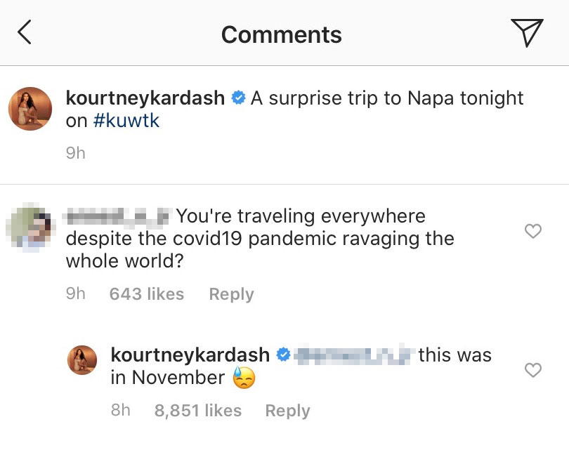 Kourtney Kardashian IG Comments