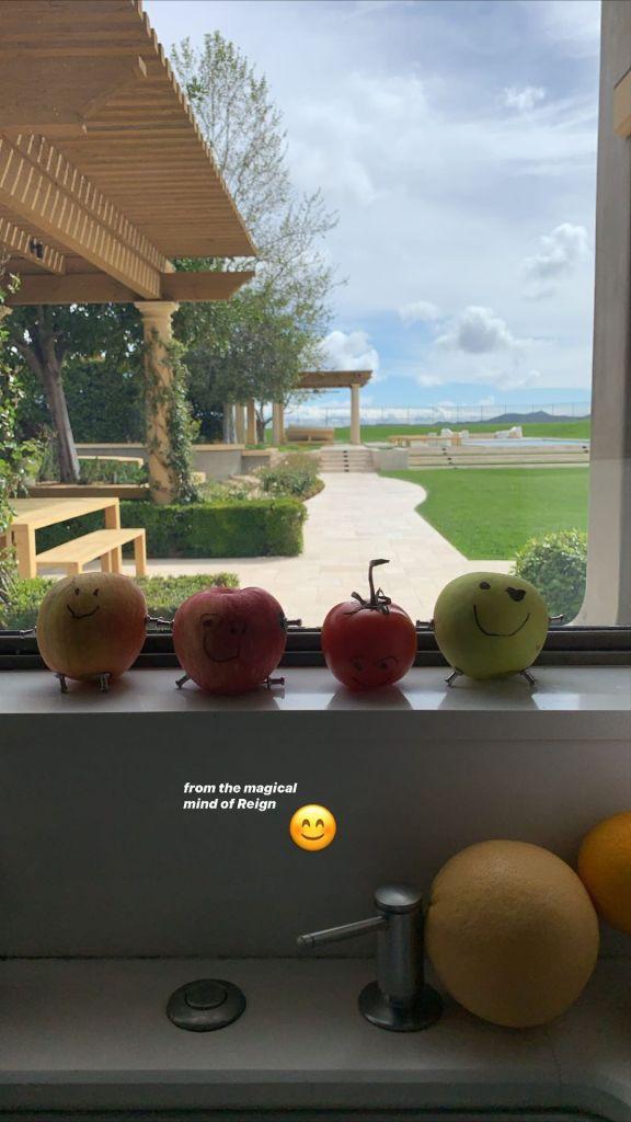 Kourtney Kardashian's Son Reign Disick Makes Fruit Artwork