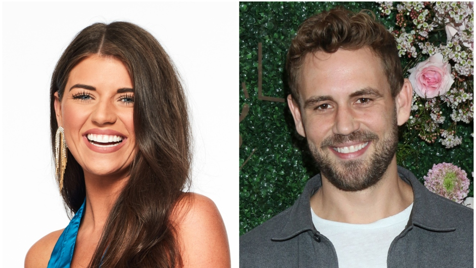 Bachelor Contestant Madison Prewett Smiles in Bachelor Headshot Nick Viall Wears Grey jacket and White Tshirt