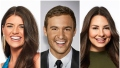Bachelor Contestant Madison Prewett Smiles in Blue Silk Top and Gold Earrings Kelley Flanagan Wears Green Turtleneck adn Peter Weber Smiles in Black Suit