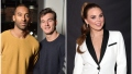 Matt James Stands in Yellow Sweater With Tyler Cameron in Blue Sweater in Split Image With Hannah Brown in High Ponytail and White Suit