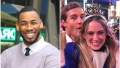 Bachelorette Contestant Mike Johnson Wears Purple Sweater and White Collar Shirt With Black Tie in Split Image With Bachelor Producer Julie LaPlaca on New Years With Peter Weber in Blue Coat
