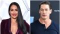 Nikki Bella Wears Purple Velvet Suit and Smiles in Split Image With John Cena Wearing a Blue Henley Tshirt