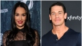 Nikki Bella Smiles in Black Lace Dress and Red Lipstick in Split Image With John Cena in Blue Henley Shirt
