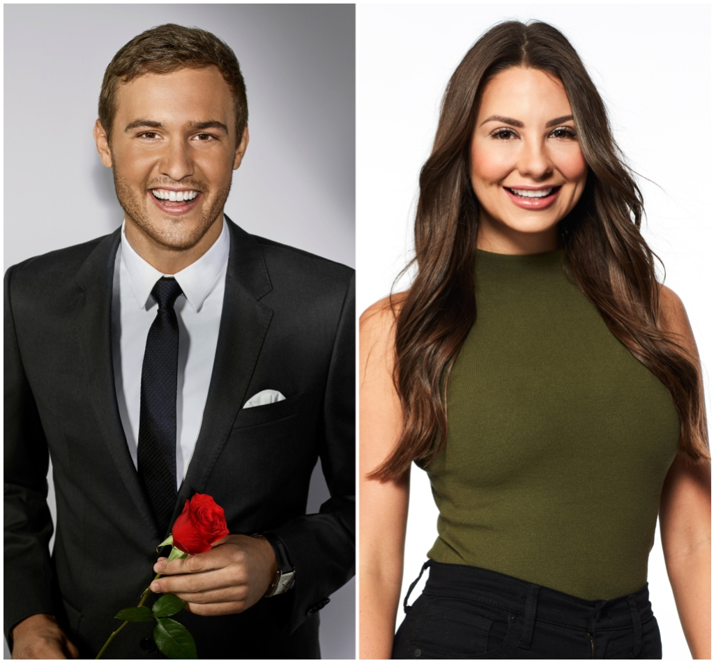 Peter Weber Smiles in Bachelor Photo Wearing a Black Suit and Holding a Rose in Split Image With Kelley Flanagan Bachelor Contestant Photo in Green Tank Top and Black Jeans