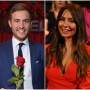 Bachelor Peter Weber Holds a Rose in a Blue Suit in Split Image With Kelley Flanagan in Red Dress at After the Finale Rose