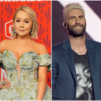 Raelynn Wears Flowers Off the Shoulder Dress Adam Levine Smiles With blonde Hair in Blue Trench Coat They Knew Each Other on The Voice
