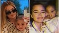Kylie Jenner and Stormi Webster Wear Matching PJs in Mirror Selfie Split Image With Khloe Kardashian and True Thompson Smiling in Matching PJs