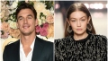 Bachelorettes Tyler Cameron Wears Blue Suit Gigi Hadid Models Black Dress and Hoop Earrings Tyler Reacts to Gigi Hadid Pregnancy