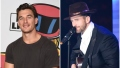 Bachelorette Contestant Tyler Cmaeron Smiles in Grey Tshirt Split Image With Jed Wyatt wearing Big Hat and pLaying Guitar While Singing Into the Microphone