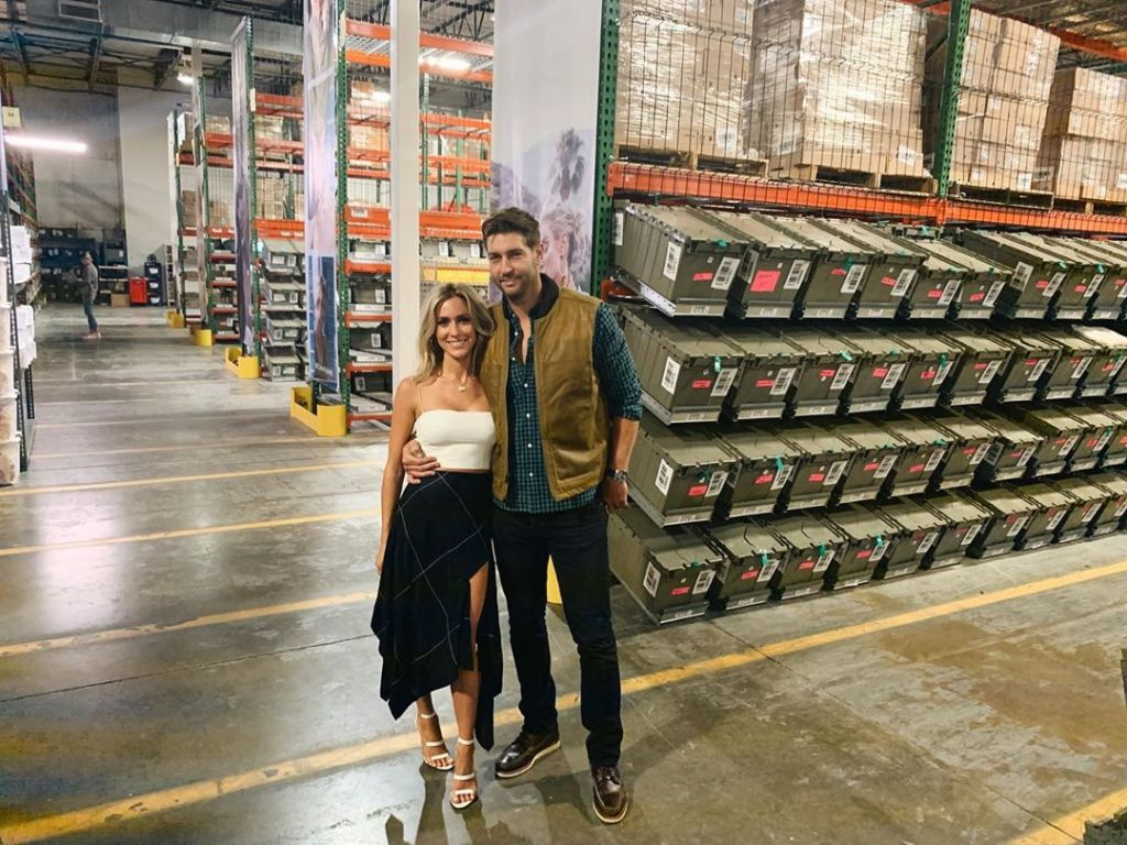 Kristin Cavallari Wears White Strapless Top and Flowy Skirt in Warehouse With Husband Jay Cutler