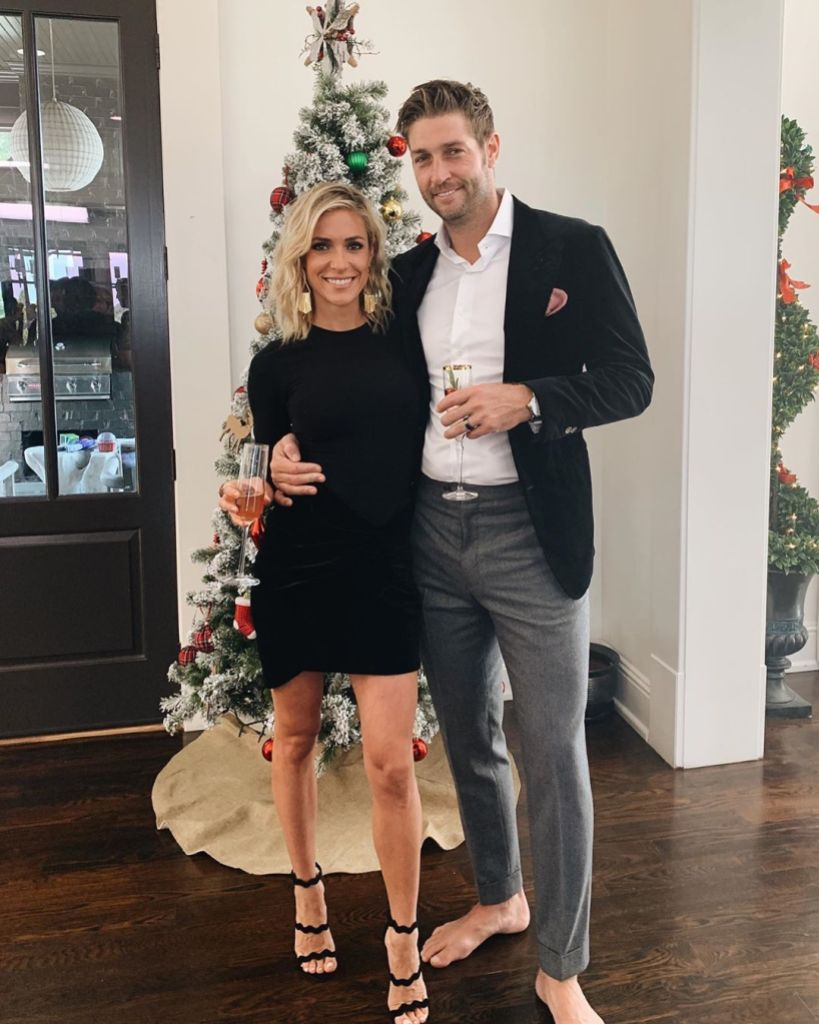 Kristin Cavallari Smiles in Black Dress and Strappy Heels With Jay Cutler in Grey Jeans and Blazer