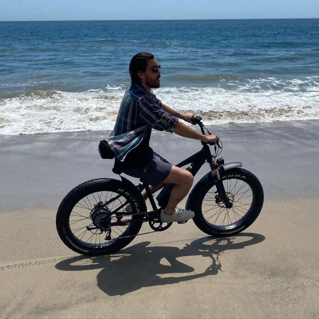 Scott Disick Rides Electric Bike on the Beach