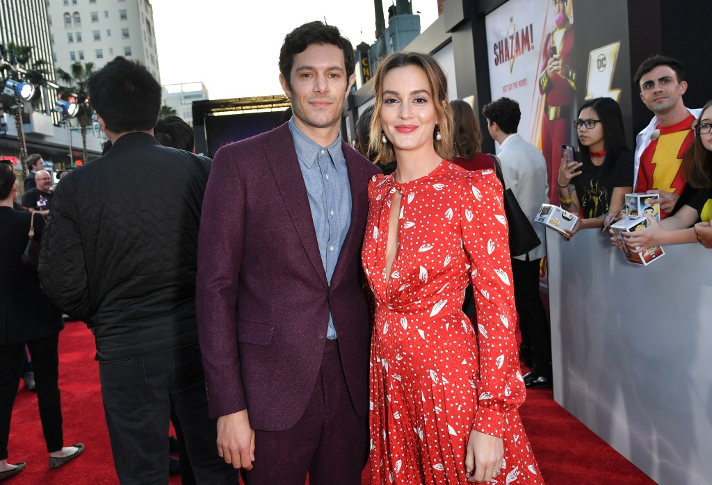 Leighton Meester Smiles in Red Dress on Red Carpet With Husband Adam Brody in Purple Suit