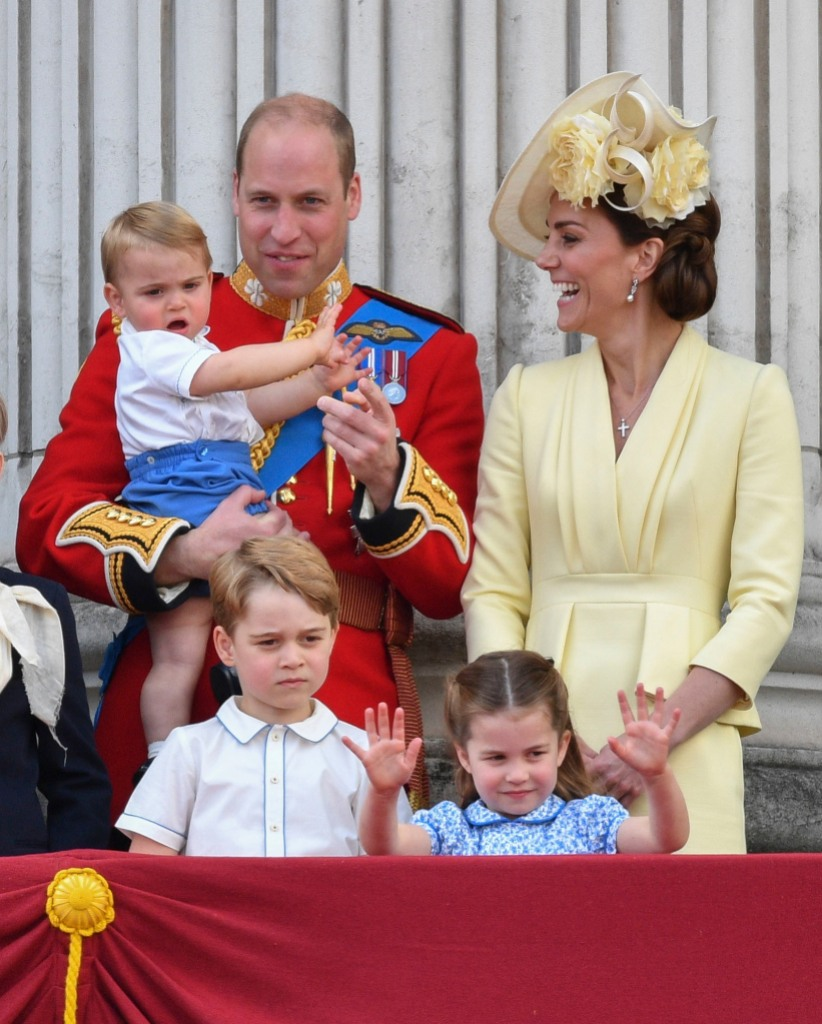 Prince William, Catherine Duchess of Cambridge, Prince Louis, Prince George, Princess Charlotte Trooping the Colour ceremony, London, UK - 08 Jun 2019