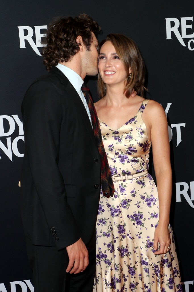 Leighton Meester Wears Silk Flowered Dress and Giggles As Husband Adam Brody Whispers in Her Ear on Red Carpet